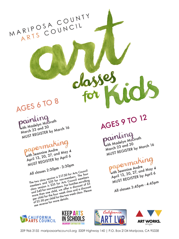 Spring Art Classes For Kids 2015 Poster